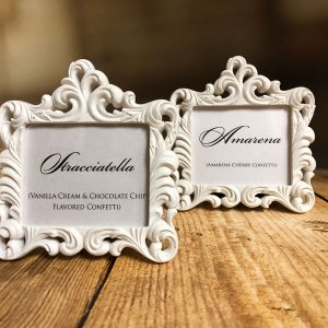 Mini Baroque Frames available at Amore Bio Confetti